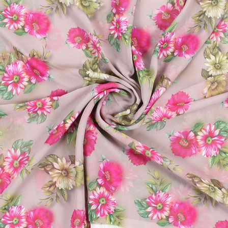 Gray Pink and Green Flower Georgette Silk Fabric-15108